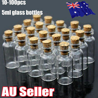 10-100 Clear Mini Small Cork Stopper Tiny Glass Vial Jars Containers Bottle Bulk