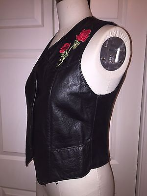 Vintage 70s Black Leather Motorcycle Vest With Roses Size Small