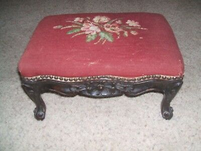 Antique Louis xv French carved floral needlepoint foot stool