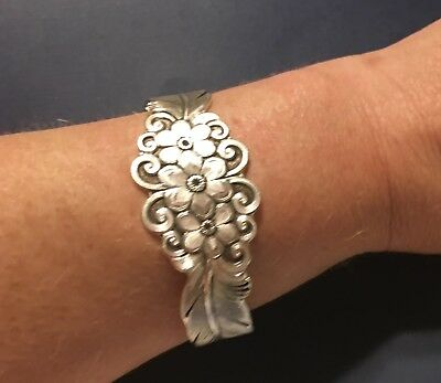Sterling Silver Woman's Cuff Bracelet with Flowers and Feathers