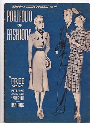 Weldon's Ladies Journal Portfolio of Fashions no 717 late 1930s with Patterns