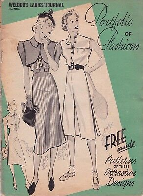 Weldon's Ladies Journal Portfolio of Fashions no 706 late 1930s with Patterns