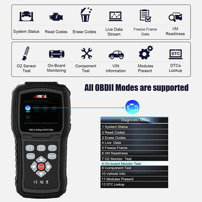 Automotive Diagnostic Scanner OBDII ABS SRS Airbag Crash Data Reset Code Reader