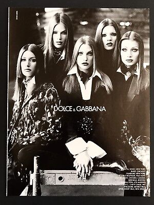1992 Vintage Print Ad DOLCE & GABBANA Woman's Fashion Style 90's Model Image