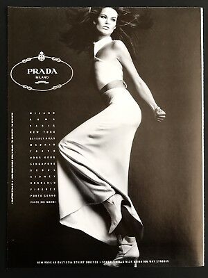 1992 Vintage Print Ad PRADA Woman's Fashion 90's Style Dress Model Pose