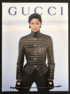 "1992 Vintage Print Ad GUCCI Woman's Fashion 9""'a Style Jacket Gloves Model"