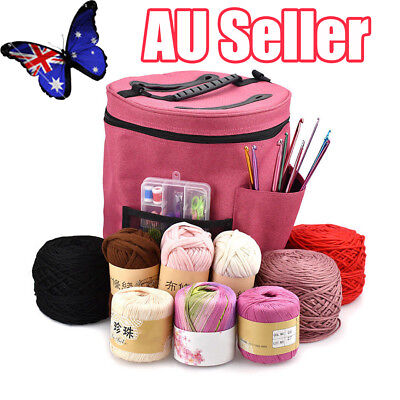 Pro Dual Slot Knitting Bag Storage For Wool Yarn Crochet Needles Tub Protects BO