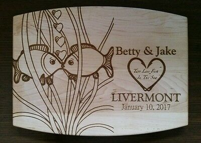 Laser Engraved Personalized Maple Cutting Board Fish Wedding Anniversary gift
