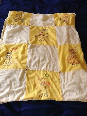 Antique Orig 8 Different Quilt Squares Applique Embroidery NURSERY RHYMES Great!
