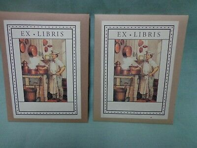 Ex Libris Cooking bookplates,  2 sets of 20, self-adhesive, NEW