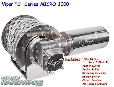 Compact Viper Micro S 1000W Electric Drum Anchor Winch KIT 4-8mtr Boat 30038-4mm