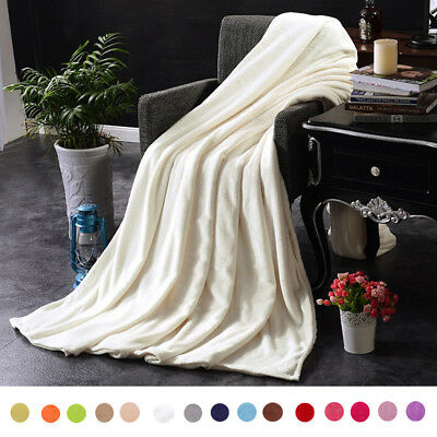 Super Soft Warm Kids Flannel Blanket Throw Sofa Bed Quilt Play Blanket 15 Colors