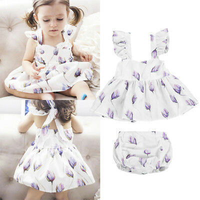 AU Stock Newborn Kid Baby Girls Flower Dress Tops Pants Outfit Set Clothes 0-24M