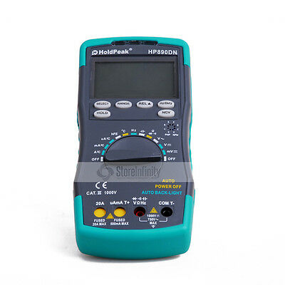 Holdpeak HP890DN Digital Multimeter DMM NCV Backligh Voltage Current Capacitance