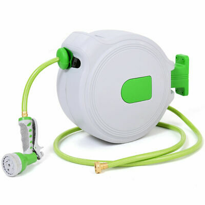 65' Retractable Water Garden Hose Reel Auto Wall Mounted  W/Spray Gun NEW