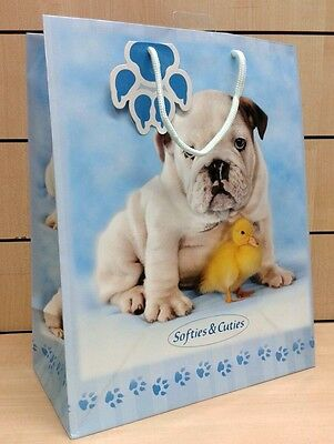 BUSTA regalo sacchetto cartoncino lucido SOFTIES & CUTIES con cane 33x26x14 cm.