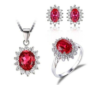 Red ruby Ring , Earrings &  Necklace gift idea free postage