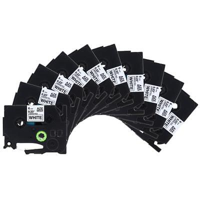 10pk TZe211 Compatible for Brother Label Tape Cassette P-Touch Black on White