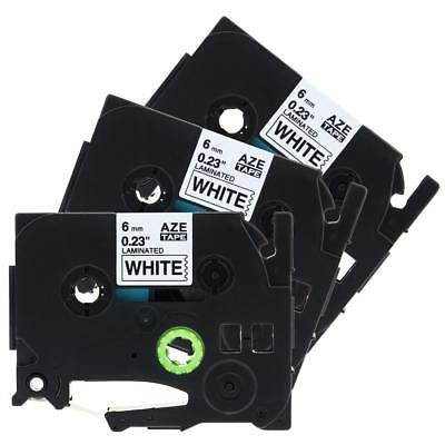 3pk TZe211 Label Tape Cassette Compatible for Brother P-Touch Black on White