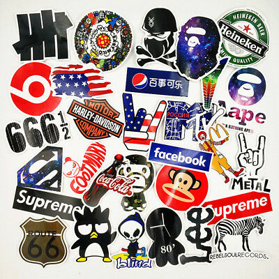 30 Stickers Vinyl Skateboard Guitar Travel Case Pack Tide Brand Logo Decals