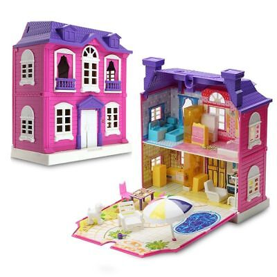 Girls Doll House Play Set Pretend Play Toy for Kids Pink Dollhouse Children