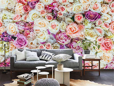 Vibrant Primary Rose 3D Full Wall Mural Photo Wallpaper Printing Home Kids Decor