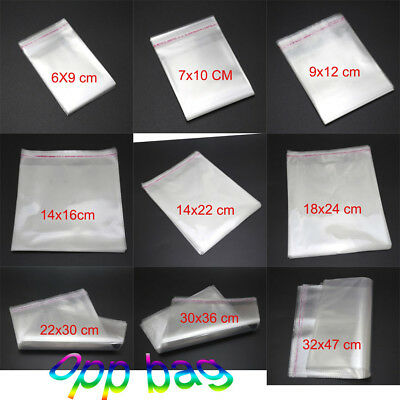 NEW Clear Cellophane Cello Bags Plastic OPP Card Display Self Adhesive Peel Seal