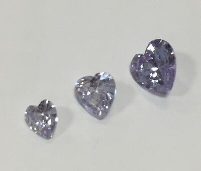 Cubic Zirconia Loose Stone HEART shape crystal gem LILAC PURPLE PREMIUM x10 x5