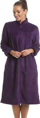 Camille Womens Ladies Soft Fleece Purple Zip Front House Coat Dressing Gown
