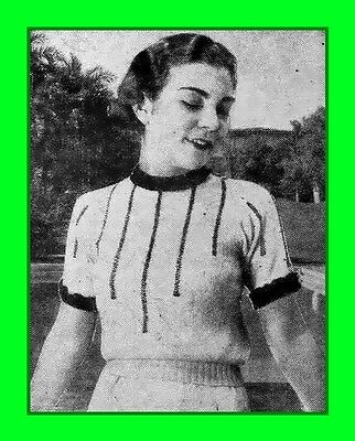 Reproduction 1930s knitting pattern; Beverly - Faggoted vertical stripes - 1933