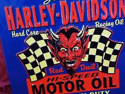 Harley Davidson Branded Retro Red Devil Motor Oil Metal Sign,bar.home.garage.