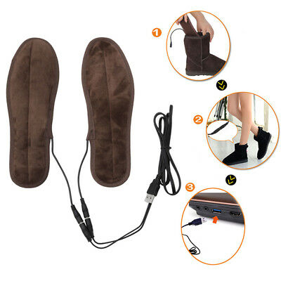 Electric Heated Shoe Insoles Warm Socks Feet Heater USB Foot Winter Warmer Pads