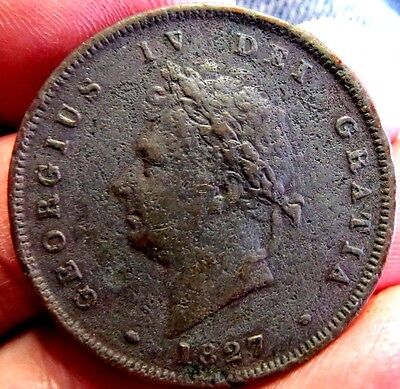 Very Rare 1827 Penny Extra Fine details damaged en route to Australia in 1827