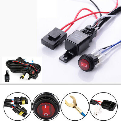 40A 12V Work Fog Light LED Bar Wiring Harness Relay Kit ON/OFF Switch Off Road