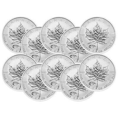 Lot of 10 x 1 oz 2016 Canadian Maple Leaf Mark V Tank Privy Reverse Proof Silver