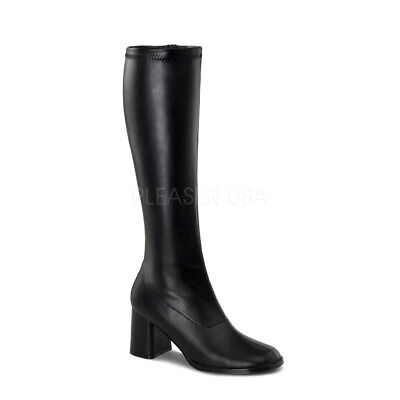 Black Pu Goth Hippie 70s Disco Halloween Costume Cosplay Fetish Gogo Boots