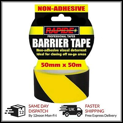 Hazard Warning Barrier Tape Roll Non Adhesive Yellow & Black 50 meters