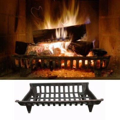 """Large Fireplace Fire Pit Grate 24"""" Cast Iron construction Solid Wood Retainer"""