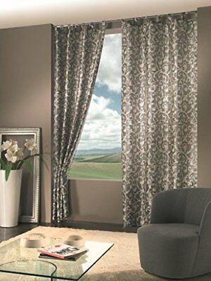 Home Collection MON135 Tenda Monaco Jacquard, Poliestere, Tortora, 140x290 cm