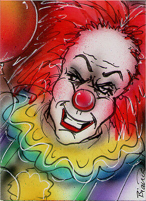 Stephen Kings IT Original PENNYWISE Sketch Card Painting by Bianca Thompson