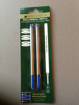 MONTBLANC BY MONTEVERDE ROLLERBALL FINE Point Refill BLUE 2 Pack NEW 88432