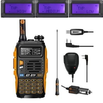 New Baofeng GT-3TP MarkIII 1/4/8W Dual UHF VHF Talky Walky w/ Haut Parleur Cable