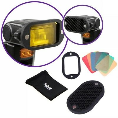 Selens Magnet Flash Modifier Kit Honeycomb Grid Grip Gel Color Filter Universal