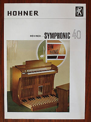 vintage original 1967 HOHNER Symphonic 40 organ full color brochure