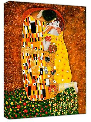 The Kiss Oil Paint By Gustav Klimt  Re Print On Wood  Framed Canvas Wall Art