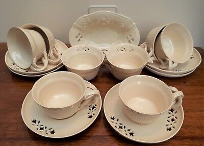 1930's J.T Morton Filey Leeds Creamware Coffee Service & Peirced Dish