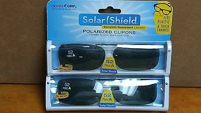 3396fe1e6b 2 Solar Shield Polarized Clip On Sunglasses 52 Rec A Fits Plastic Frames  Gray