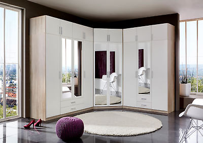 Qmax 'Space' Range. German Made Bedroom Furniture. White & Washed Oak Finish