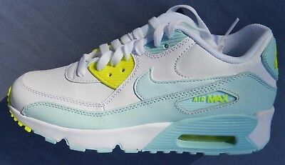 Nike Kids Air Max 90 Leather (Gs)  Size 4Y White / Blue / Yellow  833376-100