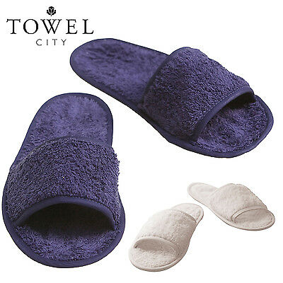 Towel City TC064 Classic Terry Slippers, Open Toed Mule Soft Bath Slippers